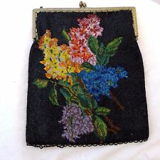 Antique Floral Scene Micro Beaded Purse Large 2 Sided Flowers Lilacs