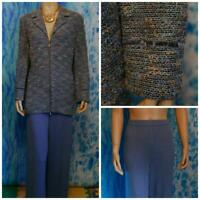 St. John Collection Blue Jacket & Pants L 12 10 2pc Suit Velvet Trim Multicolor