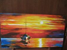 """AFREMOV GICLEE 16 1/4"""" X 16 1/4"""", """"SAIL BOAT SUNSET"""" 5/25, 2008 READY TO HANG"""
