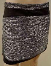 DIANE VON FURSTENBERG Femmes Gris Noir Tweed finitions en cuir mini jupe US6 UK10