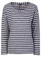 Streifen-Shirt Gr. 32/34 Blau Wollweiß Tunika Bluse Top NEU