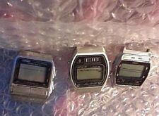 Vtg LCD Digital Watch Lot Sanyo Solar Quartz Casio Data Bank DB 520 Timex Chrono