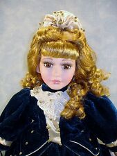 Memories Collectible Porcelain Doll 17 inch, Navy Velvet