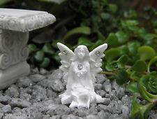 """Miniature Dollhouse FAIRY GARDEN ~ TINY 1"""" White Sparkle Fairy DAISY ~ NEW"""