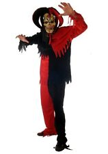 Deluxe Evil Jester With Mask Horror Halloween Fancy Dress Costume Adult P5958