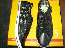 Mens Size 8 Black Perforated with Pin Punch Lace Up Shoe