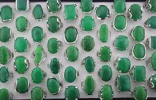 Job Lots Mix Design 25pcs Oversize Jade Gemstone&Silver P Charm Lady rings