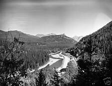 Black & White River, Road, Railroad thru the mountains 5 X 7 picture.