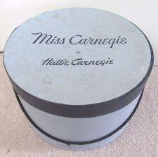 """Vintage MISS CARNEGIE by Hattie Carnegie HAT BOX, 11"""" Round x 7"""" Tall"""