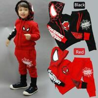 New Baby Kid Toddler Boy Spiderman Top+Pants Outfit Tracksuit Hooded Clothes Set