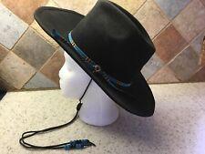 2d2f2bc8650b7 Vintage~SHEPLERS~Black~COWBOY HAT~Pure Wool~Felt Tie~Fits