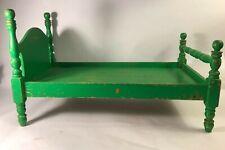 "Vintage Handmade Wood Doll Furniture Bed 19.5"" deep x 11 wide x 9 1/2"" Tall"