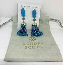 NWOT Kendra Scott Dove Statement Earrings w/Beaded Tassels Teal MSRP $150 w/Bag