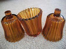 Set of 3 Vintage Amber Ribbed Votive Cup Candle Sconce Holder