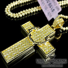 MEN'S ALL YELLOW CANARY DESIGNER CROSS STERLING SILVER PENDANT NECKLACE CHAIN