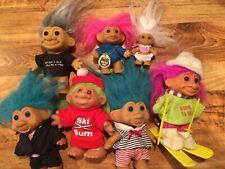 "Vintage Lot of 7 Troll Dolls D.A.M. Russ T.N.T 2"" 3"" 5"""