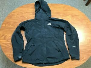 WOMENS USED THE NORTH FACE HYVENT BLACK FULL ZIP HOODED RAIN JACKET SIZE SMALL