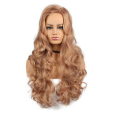 Women Synthetic Long Wavy Curly Wig Rose Gold Heat Resistant Fiber Wigs Cosplay