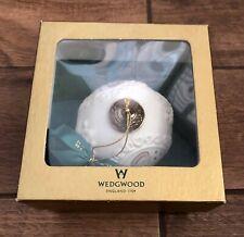 Wedgwood White Jasperware w/ Gold Angel & Dove 2000 Christmas Ball Ornament