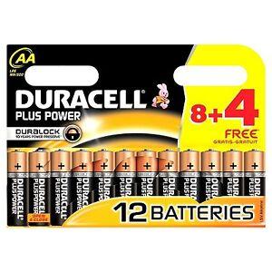 12 AA Duracell Plus Power 1.5V Alkaline Batteries LR06 DURALOCK Sky Remote