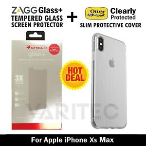 ZAGG Glass+ Screen Protector + Otterbox Clear Cover Skin Case For IPhone Xs Max