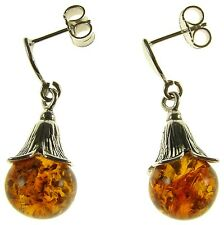 Baltic Amber Sterling Silver 925 Dangling Hoops Flower Bud Earrings Jewellery