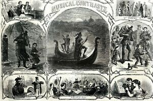 Musical Contrasts 1867 DOMESTIC HARMONY HUMOUROUS ORCHESTRA OPERA Matted Print