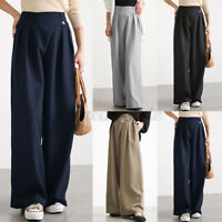 Womens Elastic Waist Wide Leg Trousers Casual Loose Baggy Chino Pants Oversized