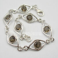 "Wedding Engagement Jewelry Smoky Quartz Bracelet 7.7"" 925 Pure Sterling Silver"
