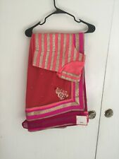NWT Designer Sari Saree Pink Mauve with readymade Orange Silk Blouse Zari FREE