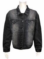 Rachel Hollis Ltd. Women's Button Front Closure Black Denim Jacket Medium Size