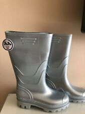 New ~ JuJu Vintage Wellies Wellington Boots Grey Gloss Silver  UK 3