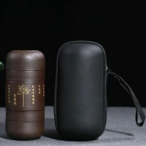 Handmade Concentric Portable Ceramic Teapot And Cups With Bag Home Drinkware Set
