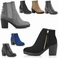 New Womens Chelsea Ankle Boots Chunky Block Heel Comfy Grip Sole Shoes Sizes 3-8