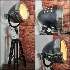 Antik Industrie Retro Stehlampe Tischleuchte  Antik  Scheinwerfer Schwarz Metall