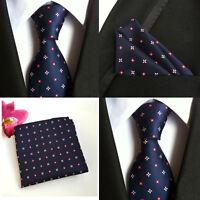 Men Navy Blue Red Flower Silk Neck Tie Pocket Square Handkerchief Set Lot HZ084
