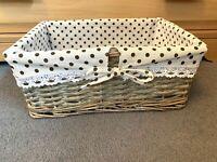 Grey White Hamper Toy Basket Lining Wicker Storage Gift Xmas Shelf Bathroom