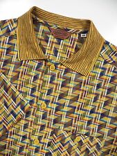 MISSONI MENS MEDIUM SUMMER SHIRT YELLOW BLUE ORANGE GEOMETRIC CHECK ITALY MADE
