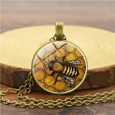 Vintage Gold Bumble Bee Realistic Honeycomb Cabochon Necklace Pendant Jewellery