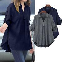 ZANZEA UK Women Long Sleeve V Neck Long Shirt Tops Asymmetrical Blouse Hem Plus