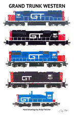 """Grand Trunk Western Locomotives 11""""x17"""" Railroad Poster by Andy Fletcher signed"""