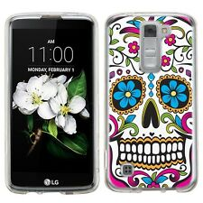 for LG Tribute 5 Slim Hard Phone Cover Case-(Clear)Sugar Skull