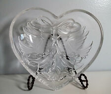 """Gorham Holiday Traditions Heart Candy Dish Glass Bowl Christmas Cardinals 7"""""""