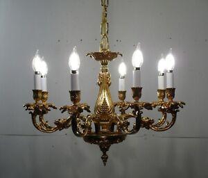 Antique Vintage Bronze Italian Lampadari Artistici 8 Light Gold Chandelier Lamp