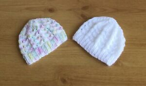 Two Prem Baby Hand Knitted Hats