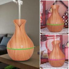 LED USB Wood Grain Ultrasonic Air Humidifier Aroma Oil Diffuser Home Light Brown