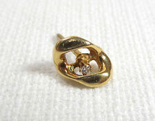 Chain Link With Tiny Diamond 1 Gram Vtg Solid 14K Yellow Gold Lapel Pin Large