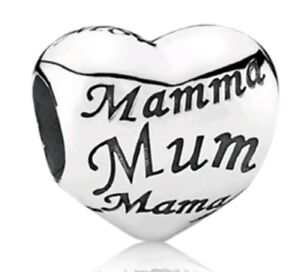 mum heart bead charm Fits Bracelet mothers day mum birthday silver plated CH33