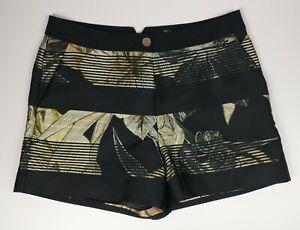 Ted Baker Black Botanical Pattern DAANASH Shorts Hot Pants Ted Size 2 UK M