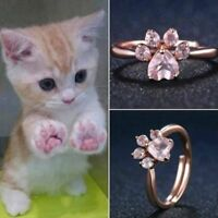 Chic femmes mignonne ours patte chat griffe or rose ouverture anneaux AAA